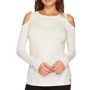 Ivanka Trump White Cold Shoulder Long Sleeve top.